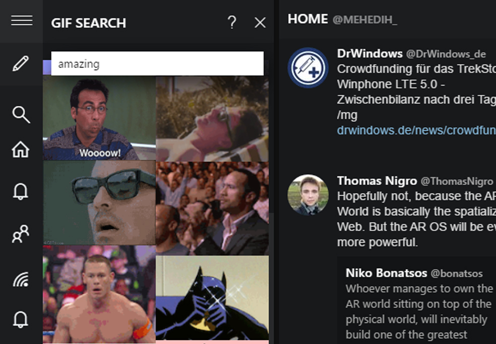 GIF features for TWeeten